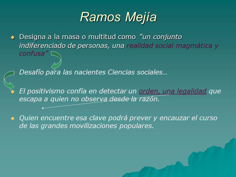 Ramos Mejía Designa a la masa o multitud como un conjunto indiferenciado de personas, una Designa a la masa o multitud como un conjunto indiferenciado
