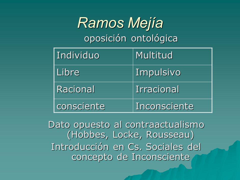 Ramos Mejía oposición ontológica oposición ontológica Dato opuesto al contraactualismo (Hobbes, Locke, Rousseau) Introducción en Cs. Sociales del conc