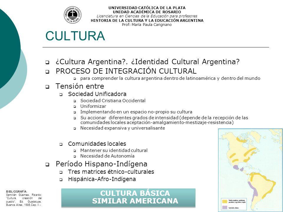 CULTURA ¿Cultura Argentina?. ¿Identidad Cultural Argentina? PROCESO DE INTEGRACIÓN CULTURAL para comprender la cultura argentina dentro de latinoaméri