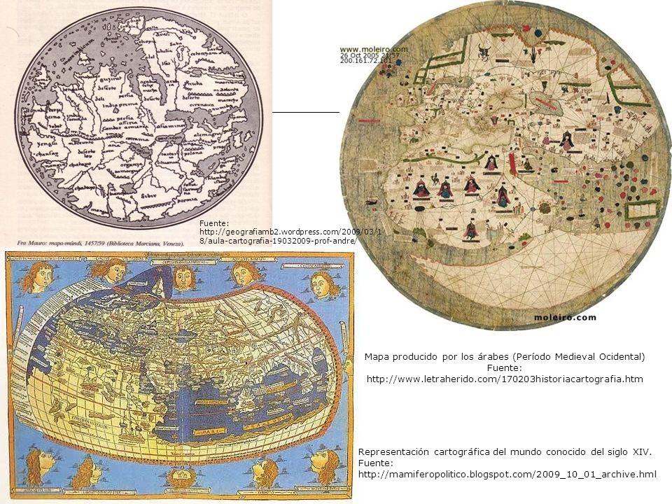 Mapa producido por los árabes (Período Medieval Ocidental) Fuente: http://www.letraherido.com/170203historiacartografia.htm Representación cartográfic