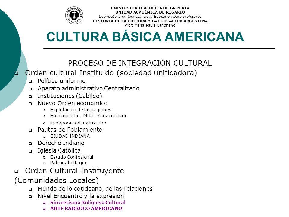 CULTURA BÁSICA AMERICANA PROCESO DE INTEGRACIÓN CULTURAL Orden cultural Instituido (sociedad unificadora) Política uniforme Aparato administrativo Cen