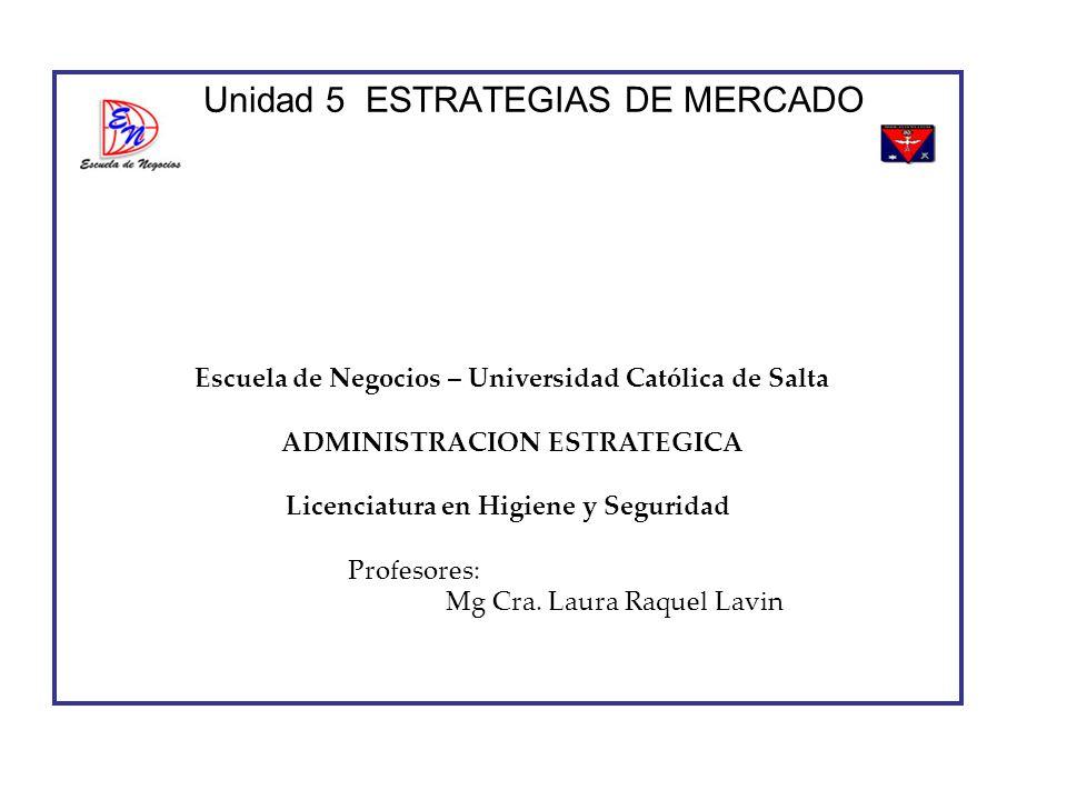Unidad 5 ESTRATEGIAS DE MERCADO Escuela de Negocios – Universidad Católica de Salta ADMINISTRACION ESTRATEGICA Licenciatura en Higiene y Seguridad Pro