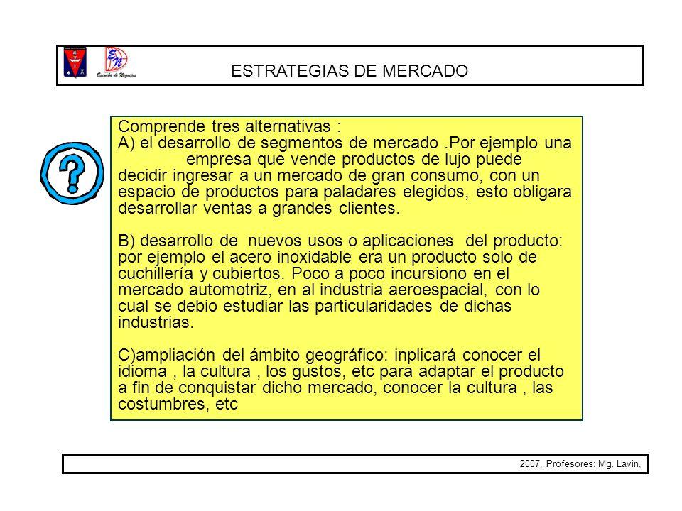 ESTRATEGIAS DE MERCADO 2007, Profesores: Mg. Lavin, Comprende tres alternativas : A) el desarrollo de segmentos de mercado.Por ejemplo una empresa que