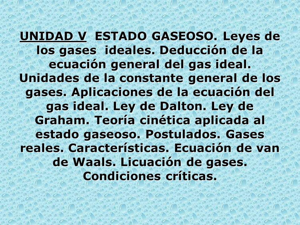 UNIDAD V ESTADO GASEOSO. Leyes de los gases ideales. Deducción de la ecuación general del gas ideal. Unidades de la constante general de los gases. Ap