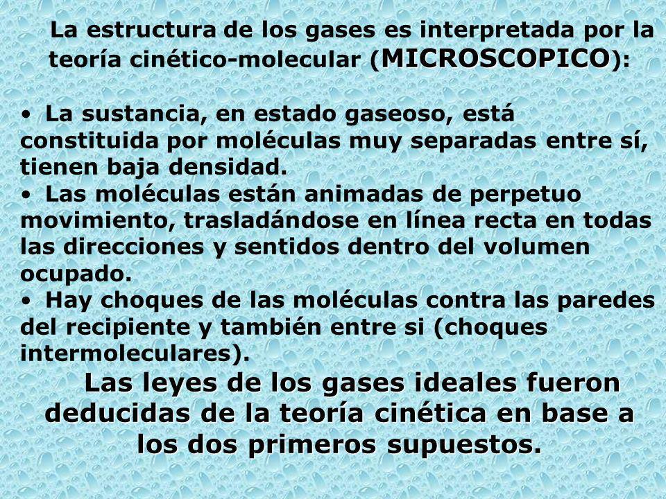 MICROSCOPICO La estructura de los gases es interpretada por la teoría cinético-molecular ( MICROSCOPICO ): La sustancia, en estado gaseoso, está constituida por moléculas muy separadas entre sí, tienen baja densidad.