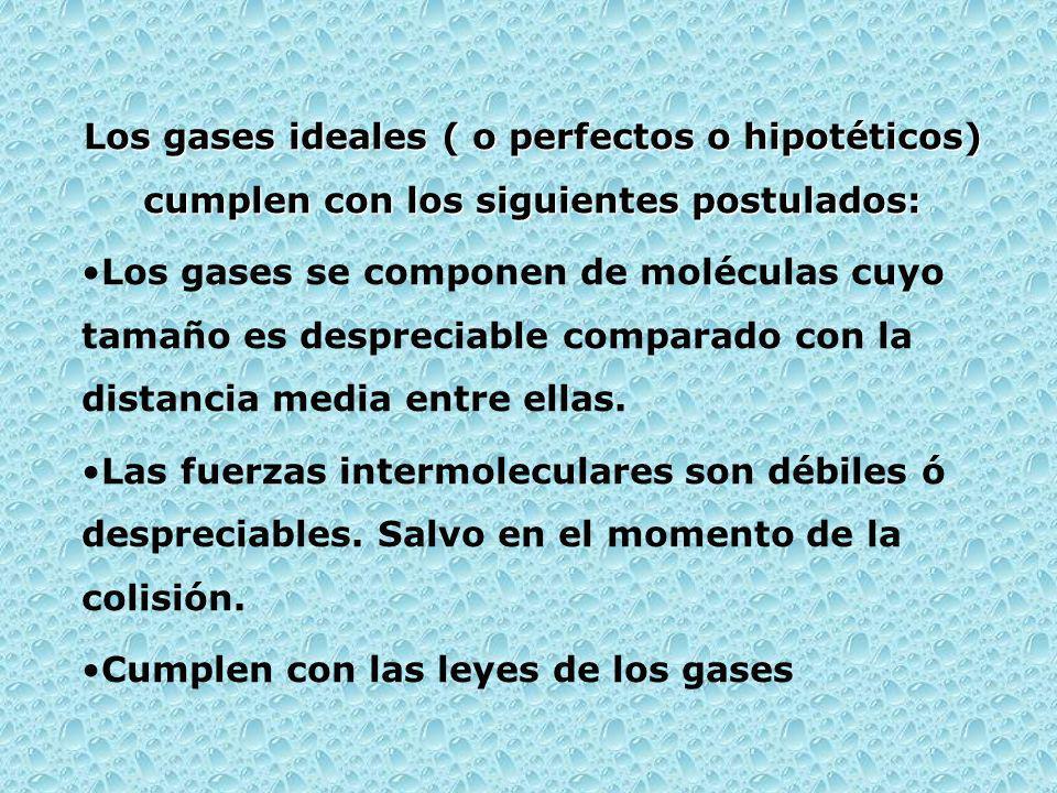 Los gases ideales ( o perfectos o hipotéticos) cumplen con los siguientes postulados: Los gases se componen de moléculas cuyo tamaño es despreciable c
