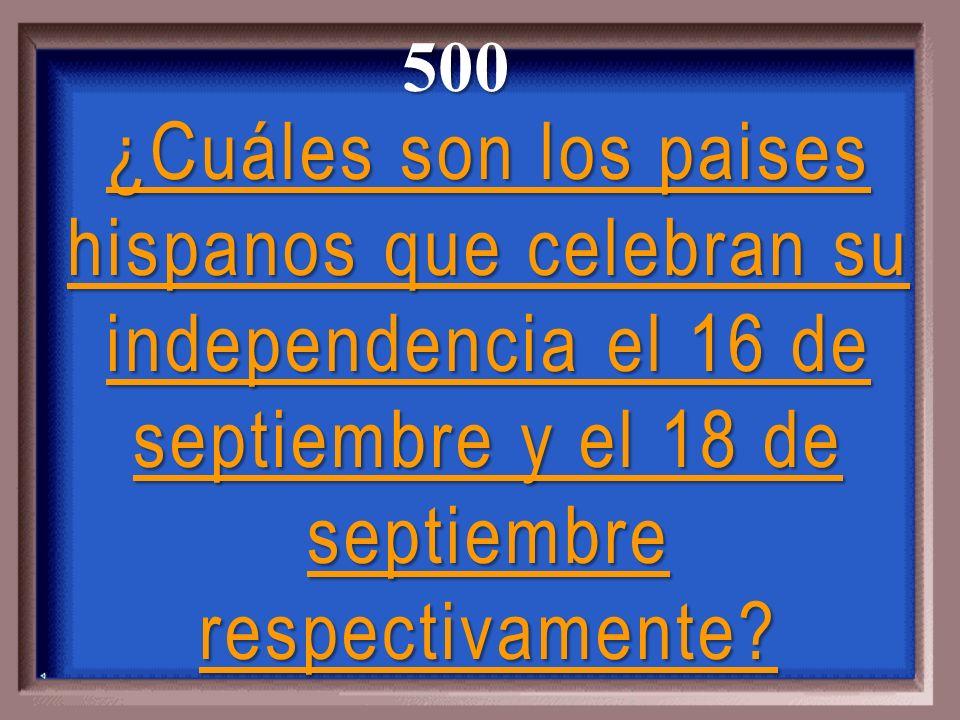 ¿Cuáles son los paises hispanos que celebran su independencia el 16 de septiembre y el 18 de septiembre respectivamente.