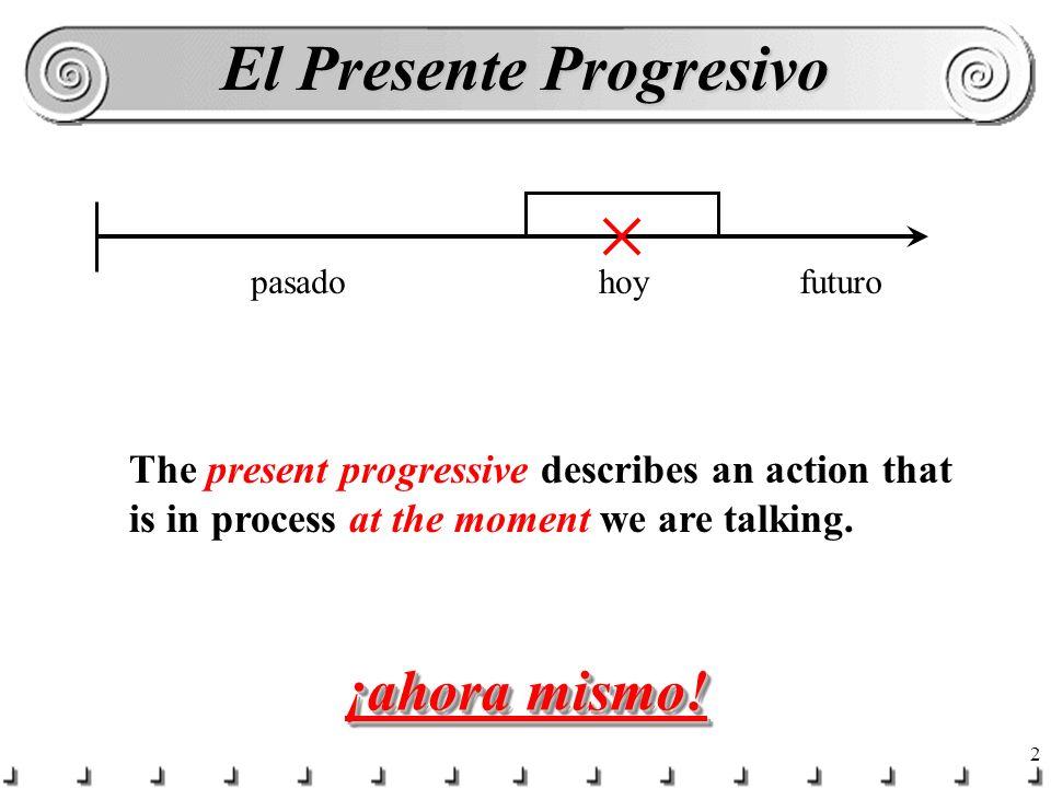 12 Completen las frases… ¿Qué ____ ________ tú.(hacer)estás haciendo ¿Dónde ____ ________ Luis.