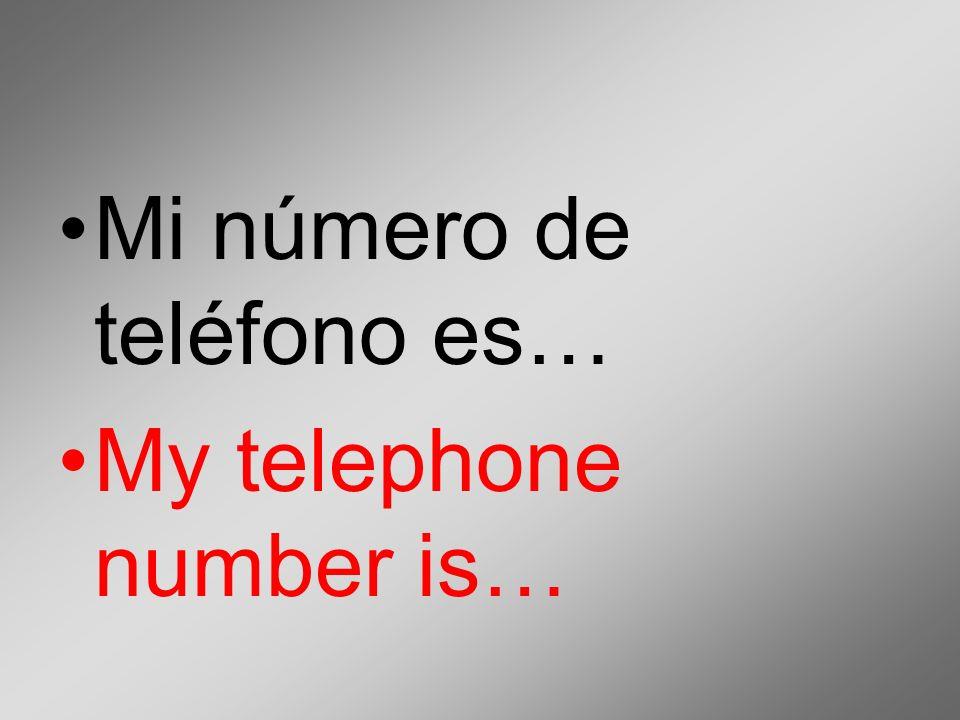Mi número de teléfono es… My telephone number is…