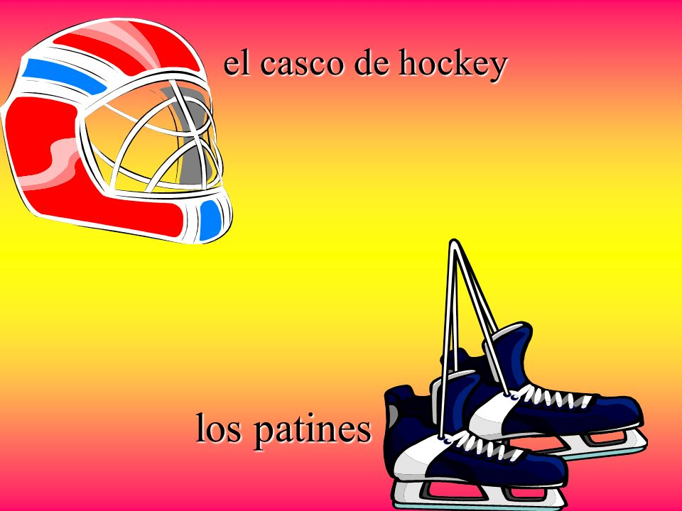 el casco de hockey los patines