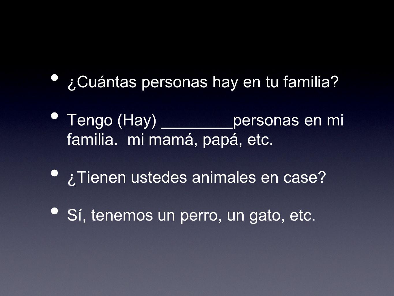 ¿Cuántas personas hay en tu familia? Tengo (Hay) ________personas en mi familia. mi mamá, papá, etc. ¿Tienen ustedes animales en case? Sí, tenemos un