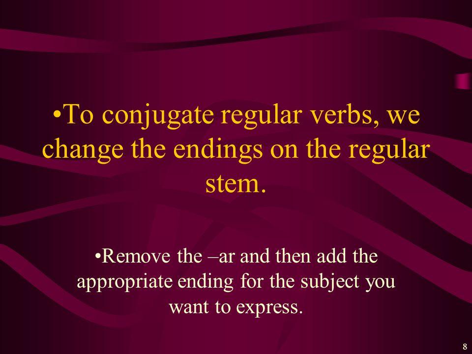 7 Every verb has 2 parts: Hablar= habl- Practicar= practi- Estudiar= estudi- Trabajar= trabaj- Cocinar= cocin- STEM+ENDING Mirar= mir- Escuchar= escuc