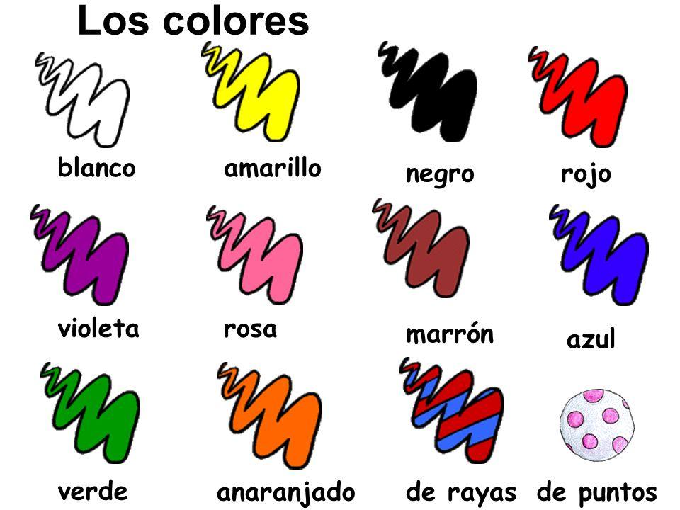 Los colores blanco marrón rosavioleta rojonegro amarillo azul verdeanaranjadode rayasde puntos