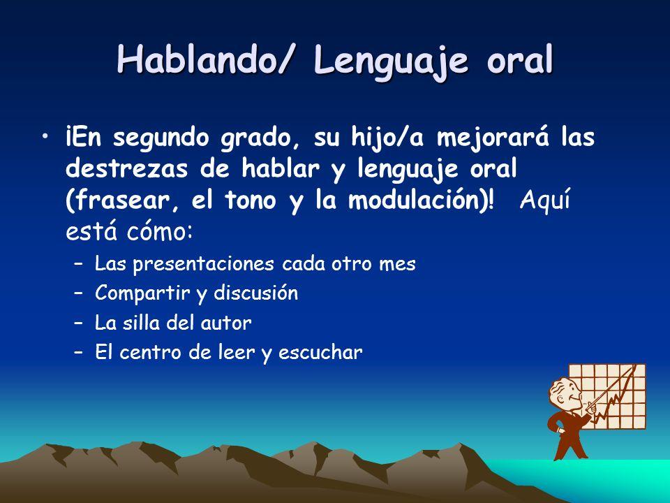 Hablando/ Lenguaje oral ¡En segundo grado, su hijo/a mejorará las destrezas de hablar y lenguaje oral (frasear, el tono y la modulación)! Aquí está có