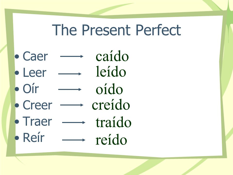 The Present Perfect Certain verbs that have a double vowel in the infinitive form (except those with the double vowel ui ) require an accent mark on t