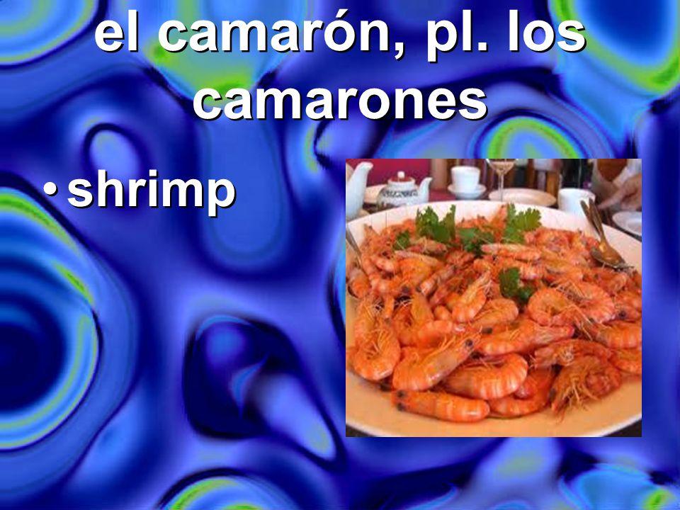 el camarón, pl. los camarones shrimp