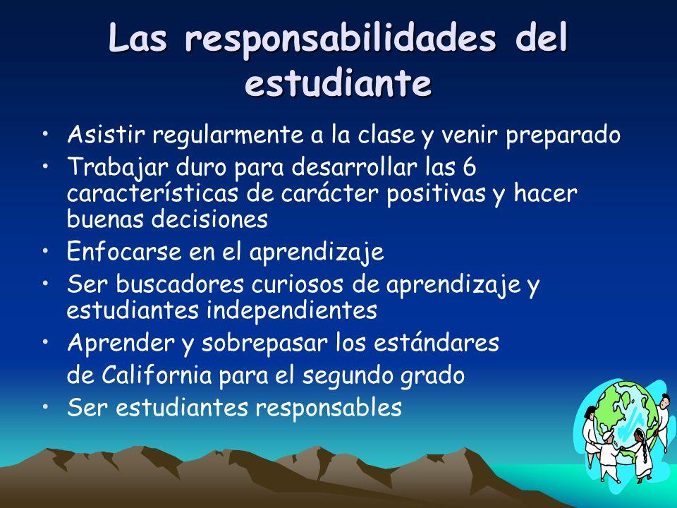 Las responsabilidades del estudiante Asistir regularmente a la clase y venir preparado Trabajar duro para desarrollar las 6 características de carácte