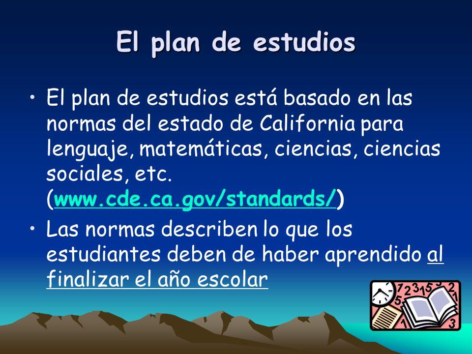 El plan de estudios El plan de estudios está basado en las normas del estado de California para lenguaje, matemáticas, ciencias, ciencias sociales, et
