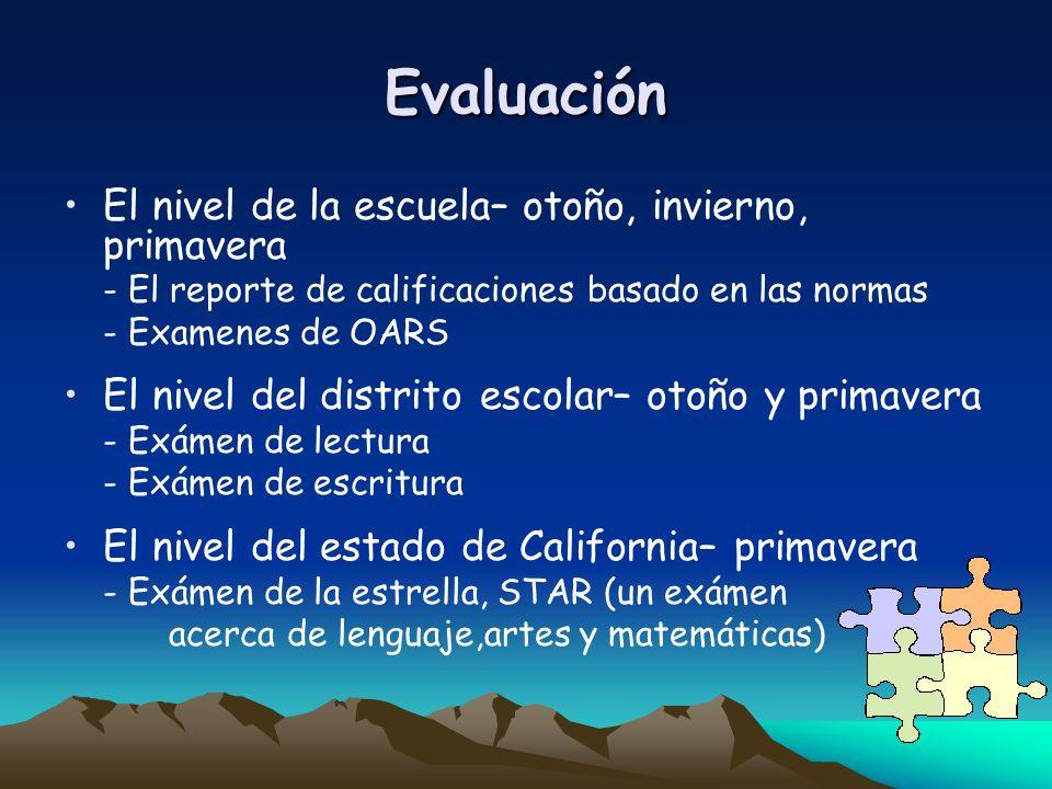 Evaluación El nivel de la escuela– otoño, invierno, primavera - El reporte de calificaciones basado en las normas - Examenes de OARS El nivel del dist