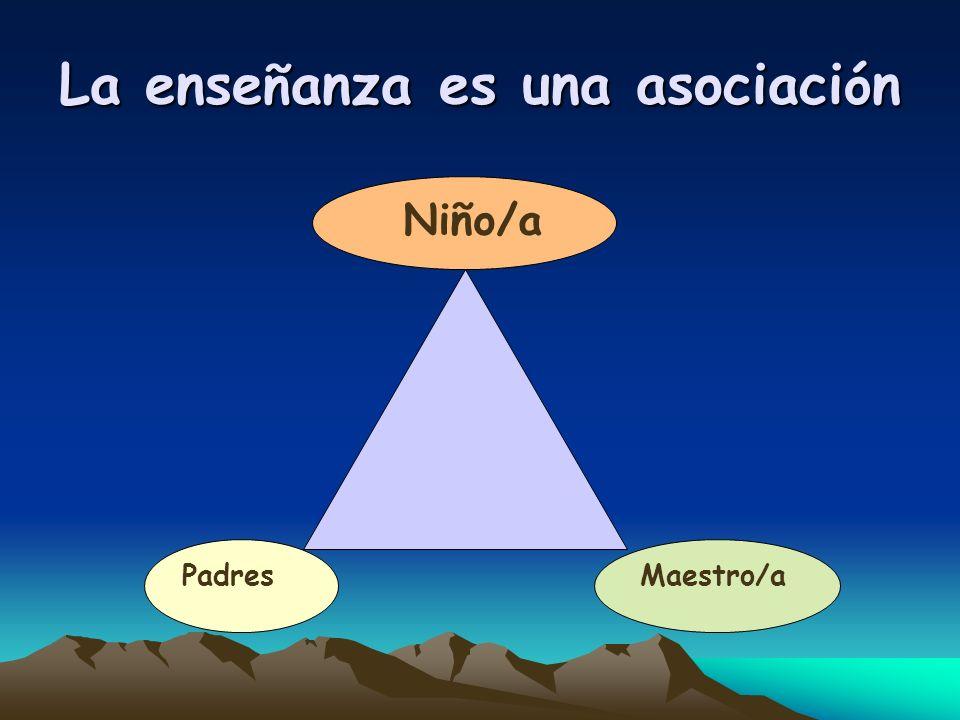 La ense ñ anza es una asociaci ó n Padres Niño/a Maestro/a