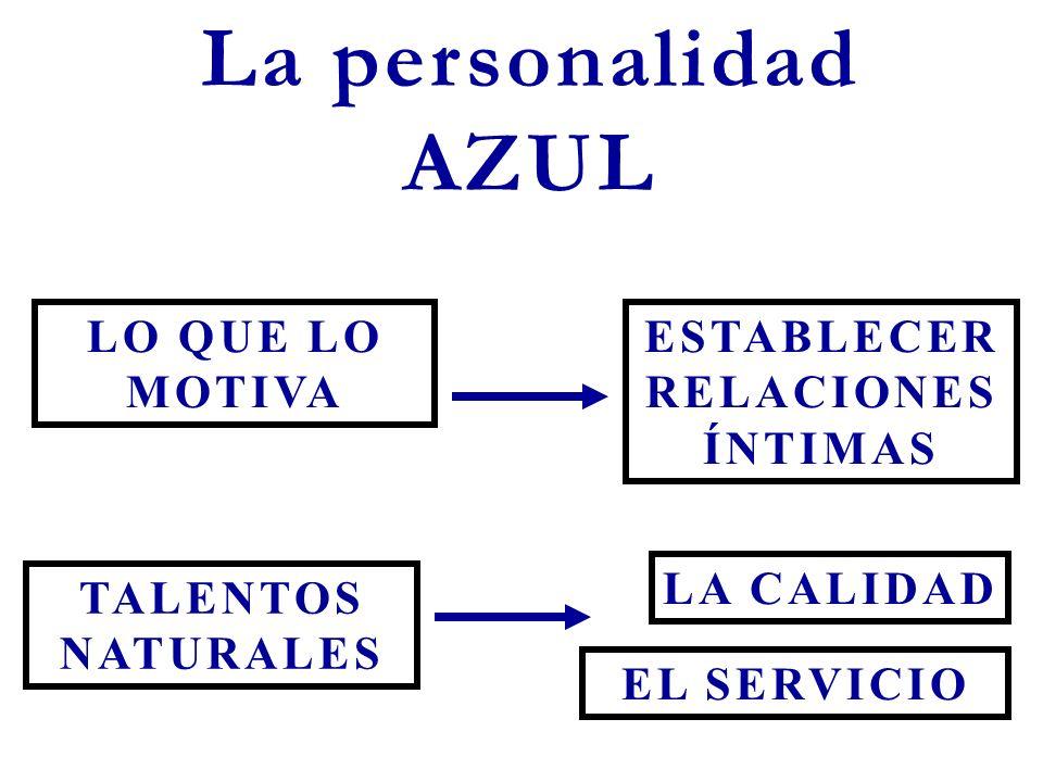 La personalidad AZUL LO QUE LO MOTIVA TALENTOS NATURALES EL SERVICIO LA CALIDAD ESTABLECER RELACIONES ÍNTIMAS