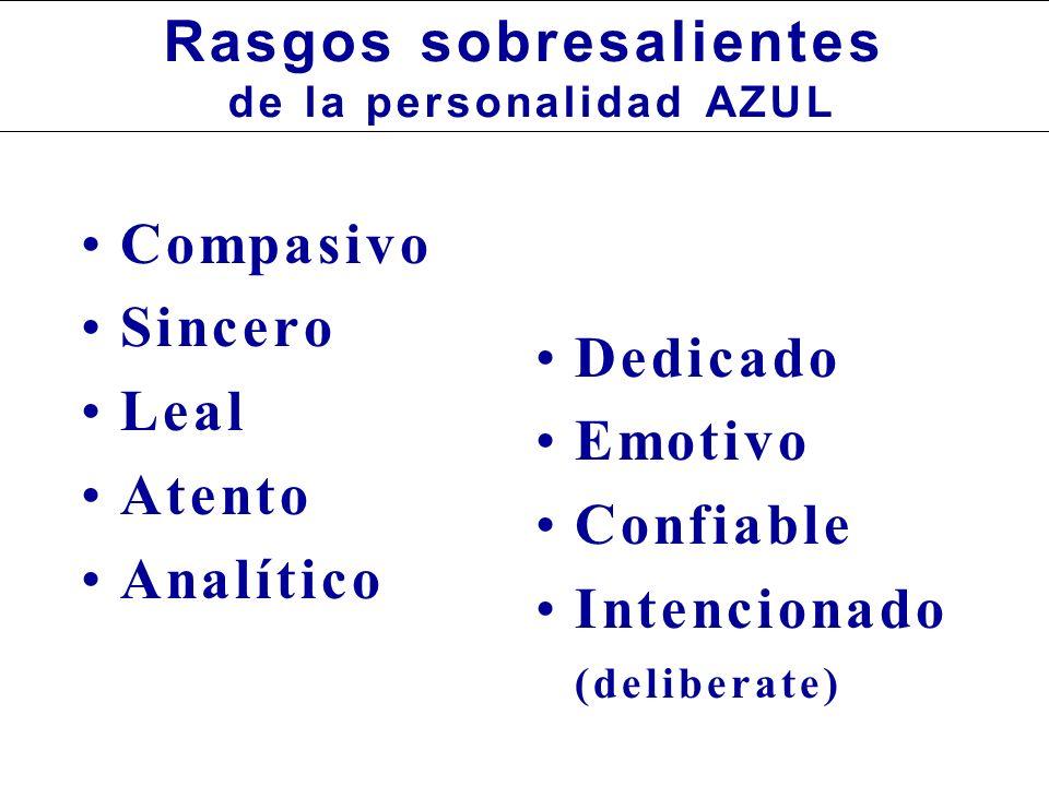Compasivo Sincero Leal Atento Analítico Dedicado Emotivo Confiable Intencionado (deliberate) Rasgos sobresalientes de la personalidad AZUL