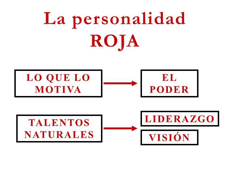 La personalidad ROJA LO QUE LO MOTIVA TALENTOS NATURALES VISIÓN LIDERAZGO EL PODER