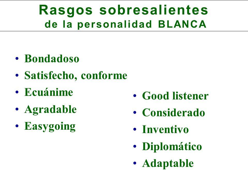 Rasgos sobresalientes de la personalidad BLANCA Bondadoso Satisfecho, conforme Ecuánime Agradable Easygoing Good listener Considerado Inventivo Diplomático Adaptable