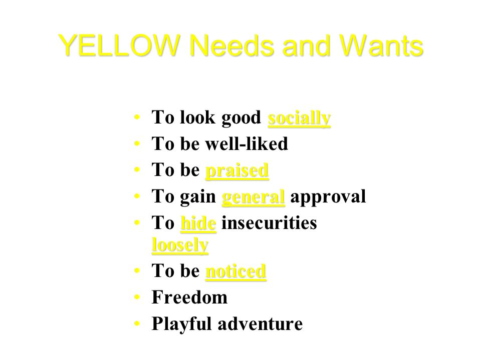 YELLOW Needs and Wants sociallyTo look good socially To be well-liked praisedTo be praised generalTo gain general approval hide looselyTo hide insecur
