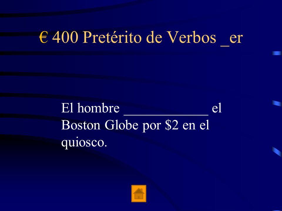 300 Pretérito de Verbos _er Yo _________ un libro en la sala de espera.