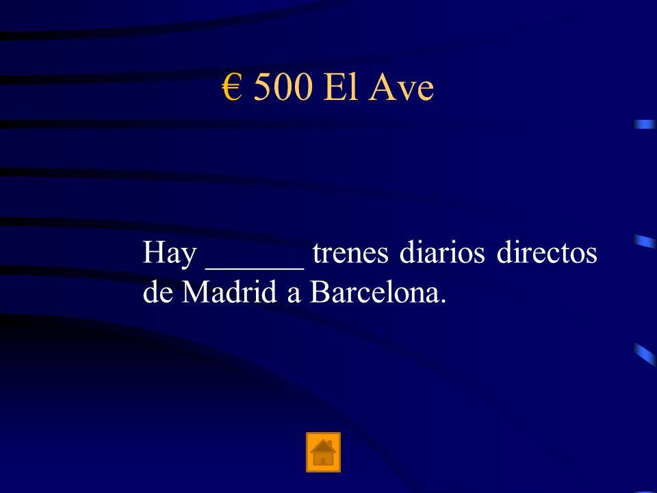 400 El Ave Un retraso de 30 minutos o más resulta en _____% devolución.
