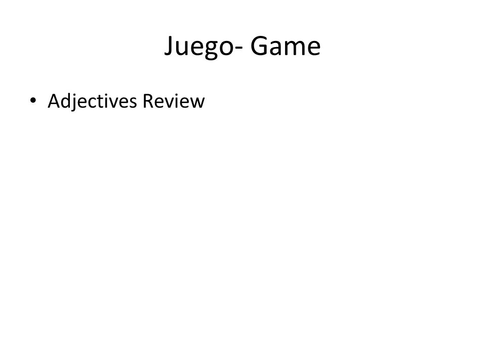 Juego- Game Adjectives Review