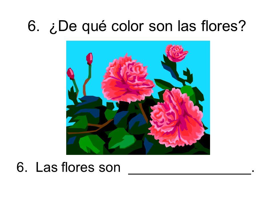 6. ¿De qué color son las flores 6. Las flores son ________________.