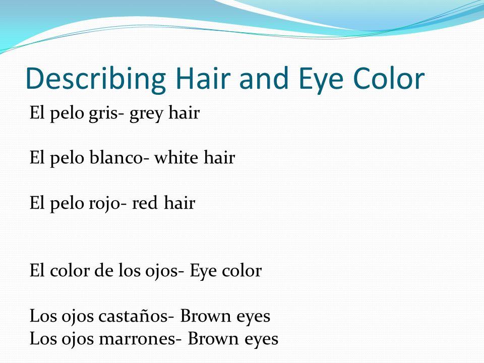 Describing Hair and Eye Color Los ojos azules- Blue eyes Los ojos verdes- Green eyes Los ojos de color café claro- Light brown eyes Los ojos de color miel- Light brown eyes