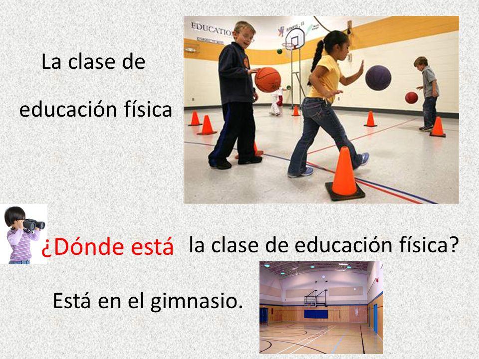 educación física ¿Dónde está la clase de educación física Está en el gimnasio.