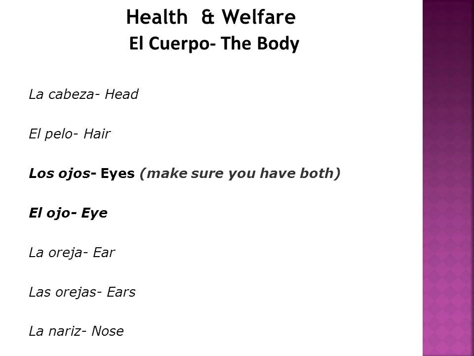 Health & Welfare El Cuerpo- The Body La cabeza- Head El pelo- Hair Los ojos- Eyes (make sure you have both) El ojo- Eye La oreja- Ear Las orejas- Ears