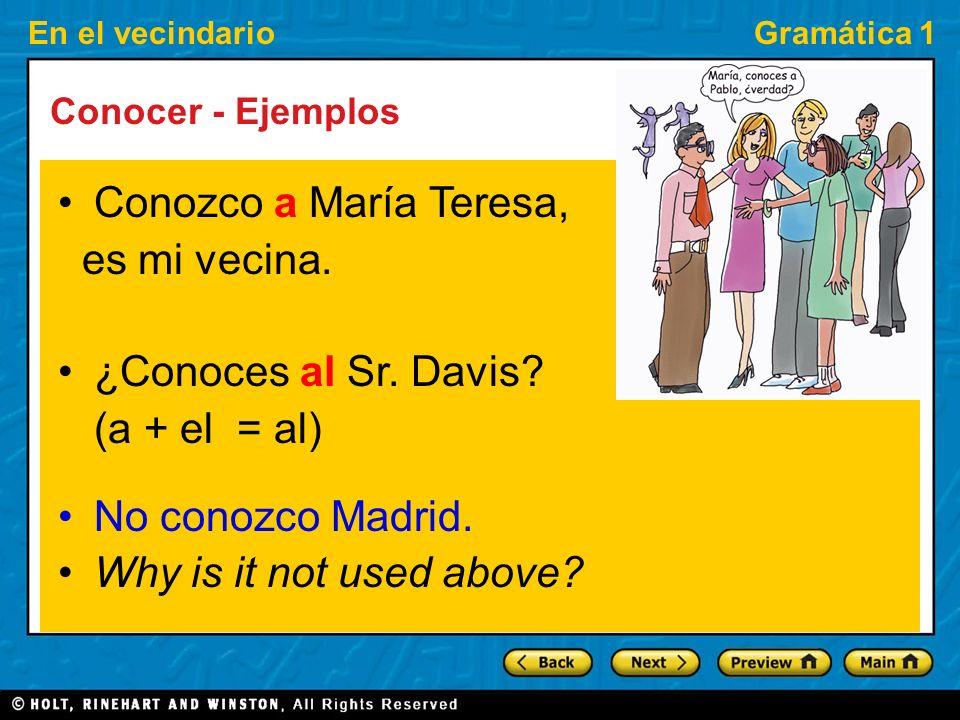 En el vecindarioGramática 1 Conocer - Ejemplos Conozco a María Teresa, es mi vecina.