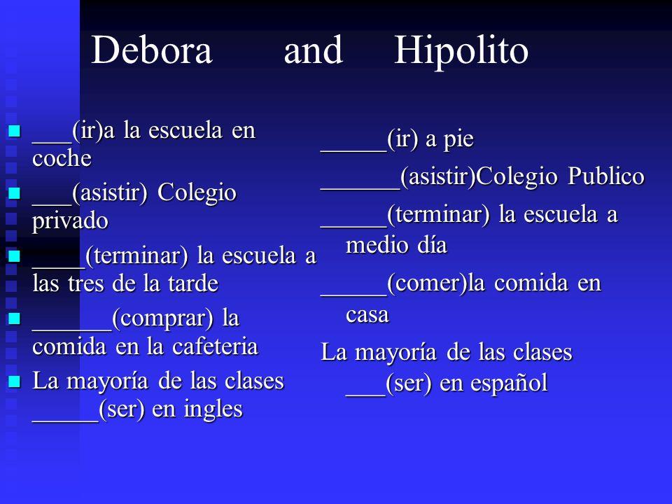 Debora and Hipolito ___(ir)a la escuela en coche ___(ir)a la escuela en coche ___(asistir) Colegio privado ___(asistir) Colegio privado ____(terminar)