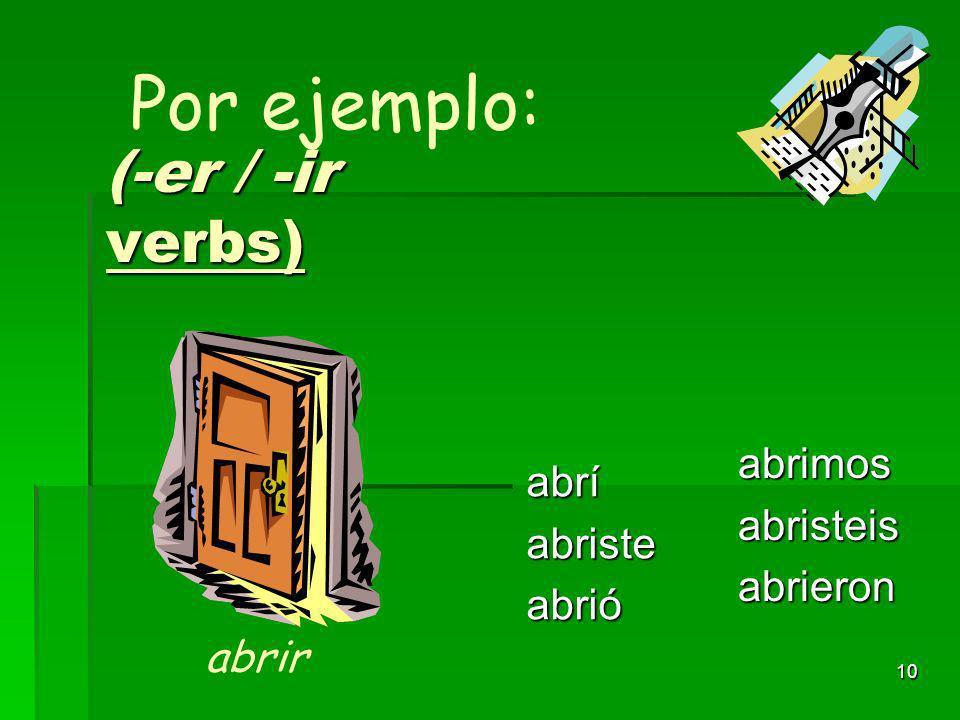 9 Verbos con ER/IR) volvívolvistevolvió volvimosvolvisteisvolvieron Por ejemplo: volver