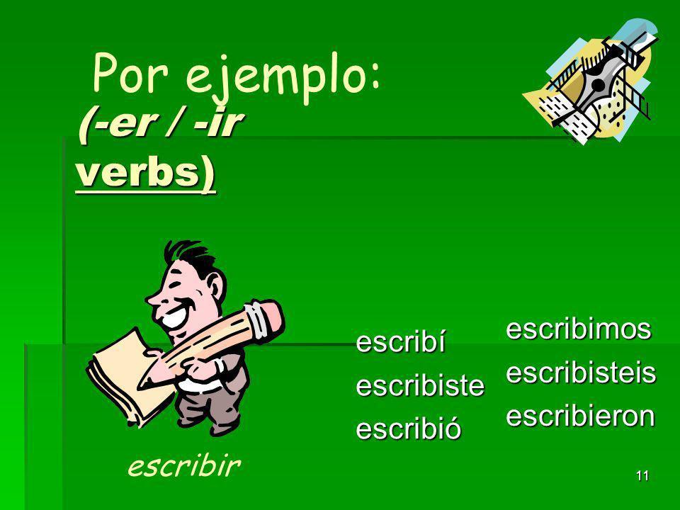 10 (-er / -ir verbs) abríabristeabrió abrimosabristeisabrieron Por ejemplo: abrir