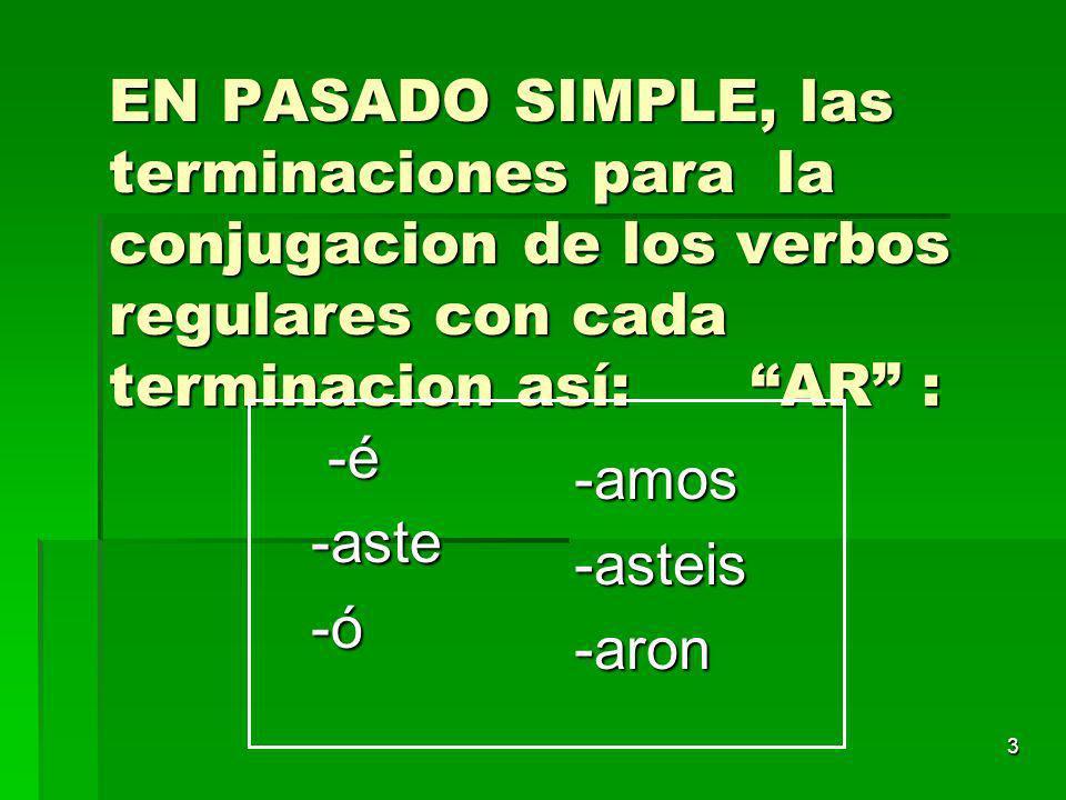 2 La raíz de los verbos en pasado es igual que la raiz de los verbos en presente. Tomartom- Hablarhabl- Comercom- Beberbeb- Abrir abr- Salirsal-
