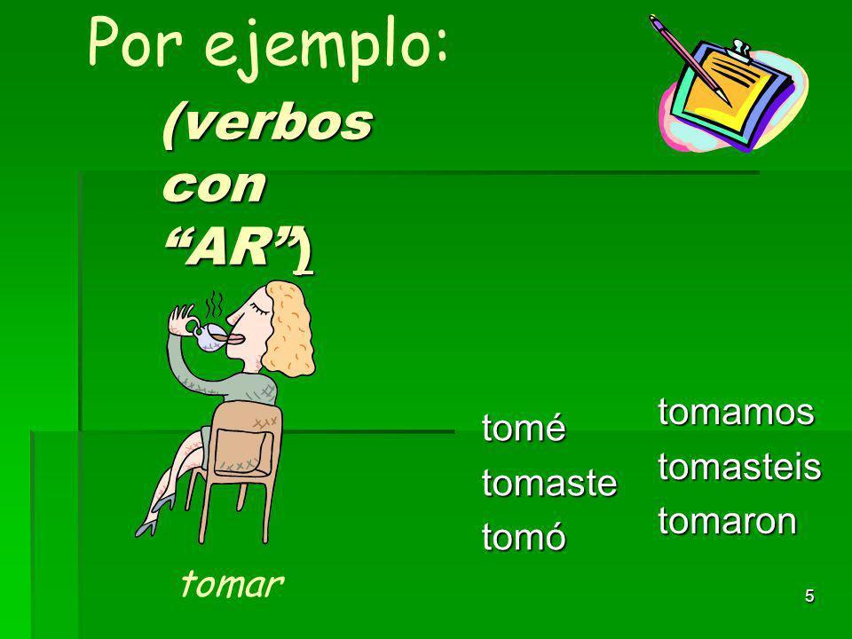 4 En pasado simple, las terminaciones para los verbos regulares con ER/IR son: -í -í -iste -iste -ió -ió-imos-isteis-ieron