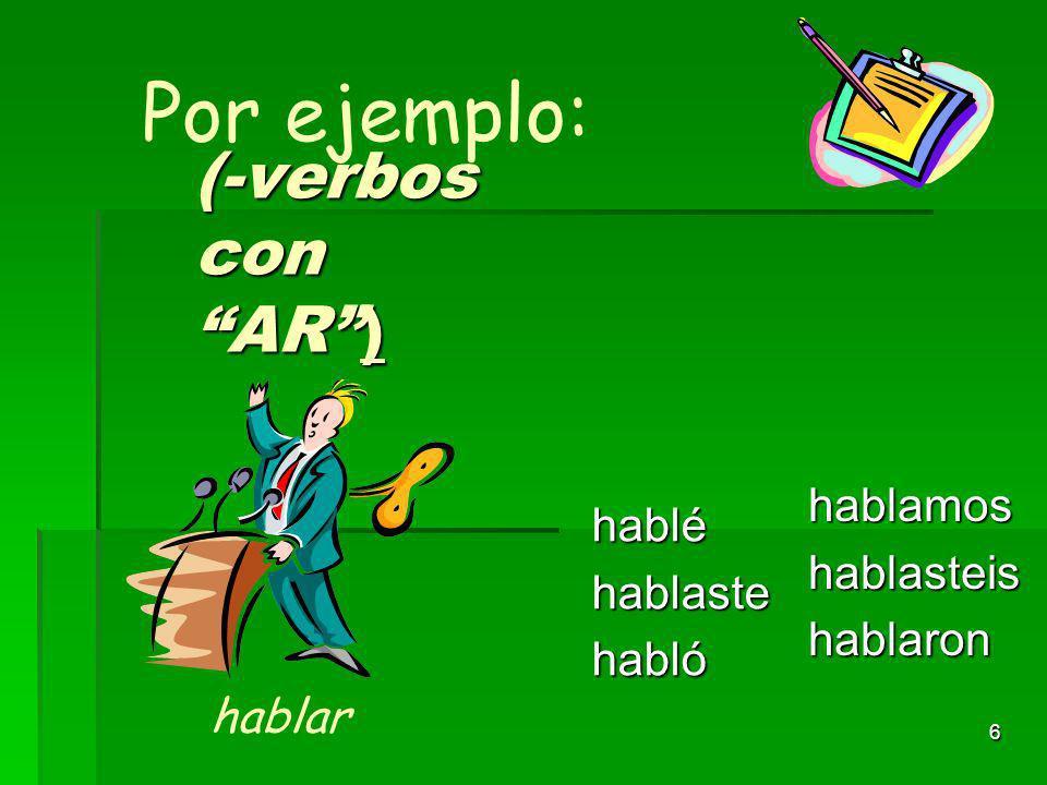 5 (verbos con AR) tométomastetomó tomamostomasteistomaron Por ejemplo: tomar