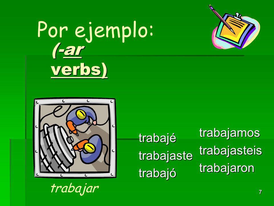 6 (-verbos con AR) habléhablastehabló hablamoshablasteishablaron Por ejemplo: hablar