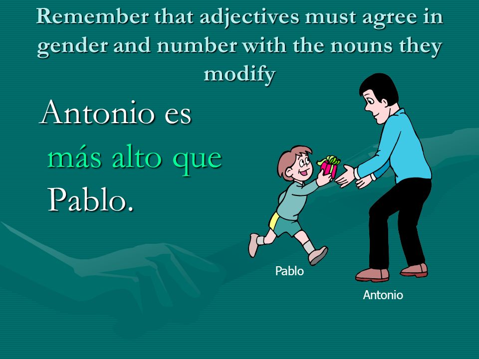 Remember that adjectives must agree in gender and number with the nouns they modify Antonio es más alto que Pablo. Antonio es más alto que Pablo. Pabl