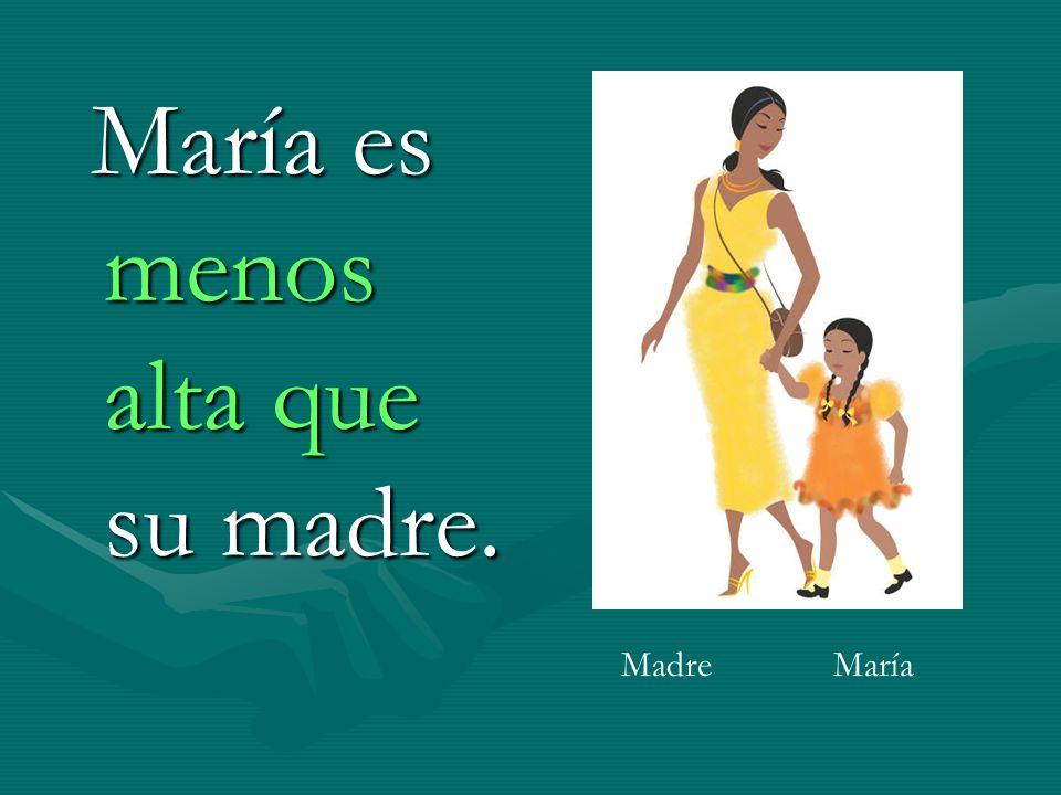 María es menos alta que su madre. María es menos alta que su madre. MadreMaría