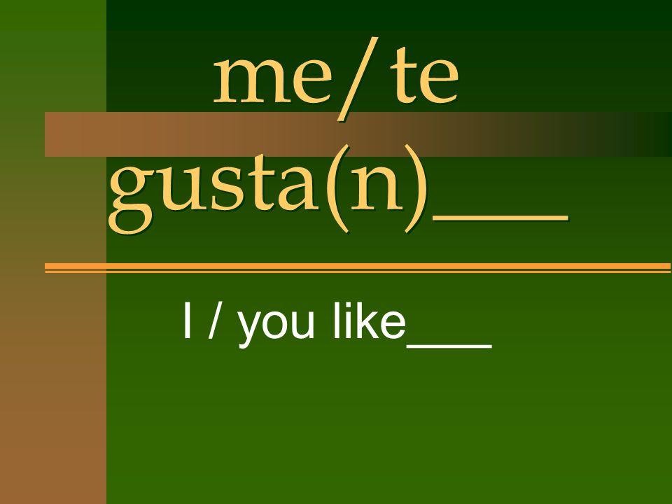 me/te gusta(n)___ I / you like___