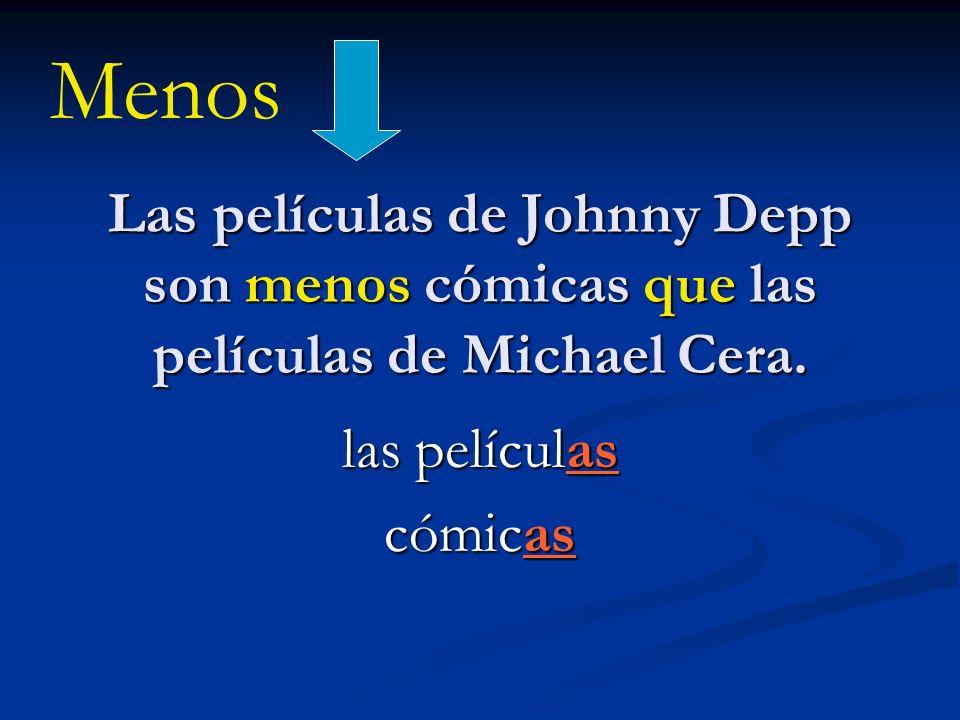 Las películas de Johnny Depp son menos cómicas que las películas de Michael Cera. las películas cómicas Menos
