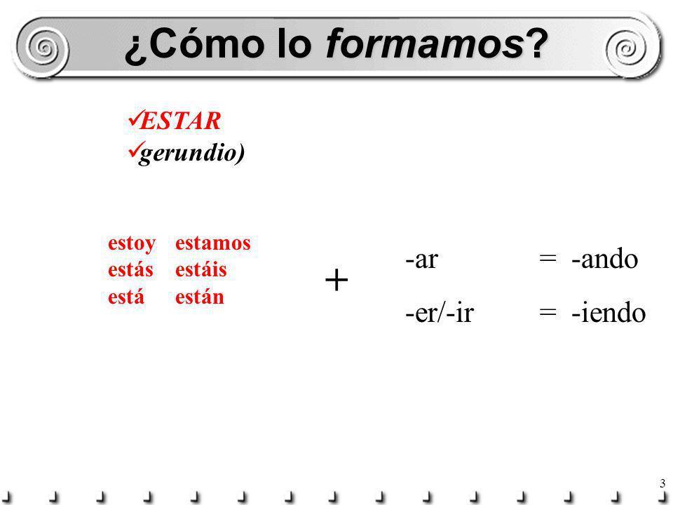 2 Gerundio = El Presente Progresivo(in het Spaans) hoypasadofuturo Aktie! ¡ahora mismo!> nu