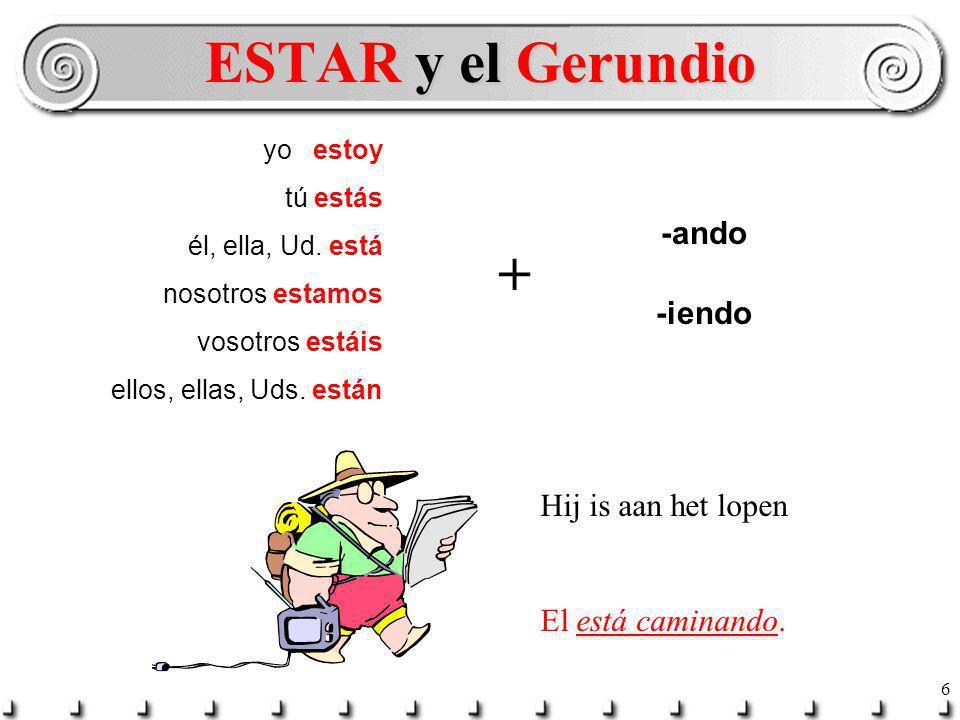 5 Hij is aan het lopen Hij zit te eten. ESTAR + -ando or -iendo El Presente Progresivo